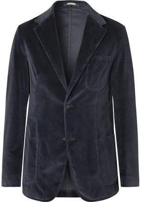 Navy Slim-Fit Unstructured Cotton-Velvet Blazer
