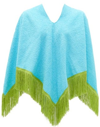 Gabriel For Sach - Fringed Cotton-terry Poncho - Blue Multi