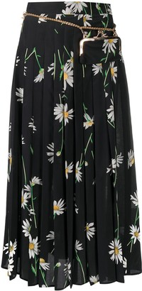 Seen Users Printed Daisies Pleated Skirt