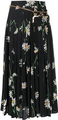Seen Users Printed Daisies Pleated Skirt