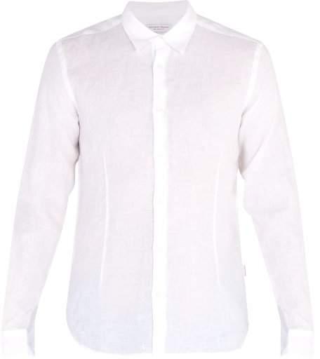 Orlebar Brown Morton Long Sleeved Linen Shirt - Mens - White