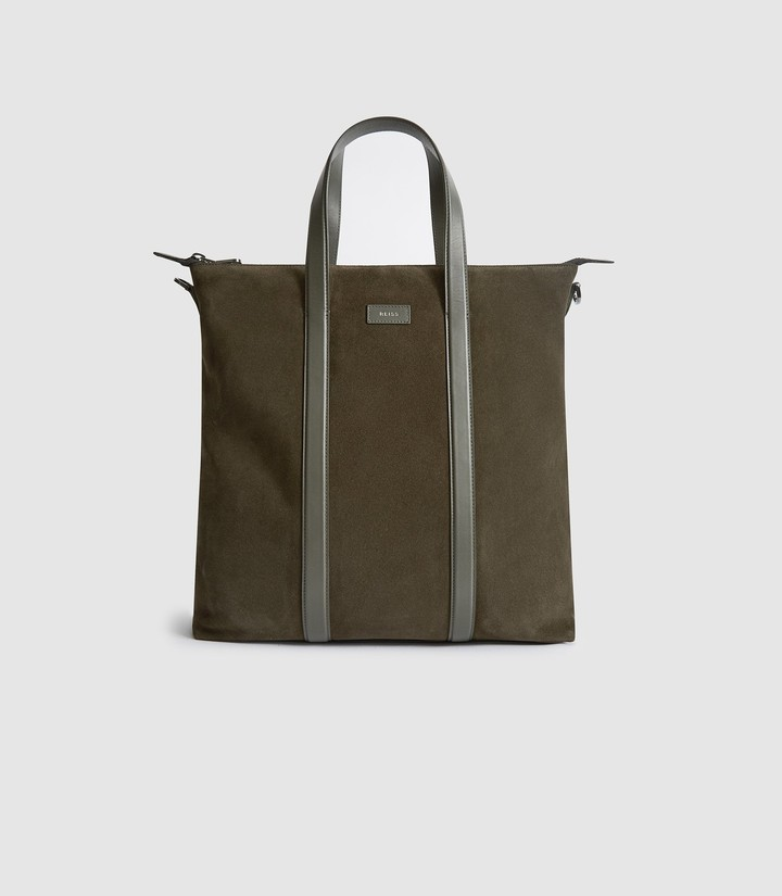 Reiss HUXLEY SUEDE TOTE BAG Green