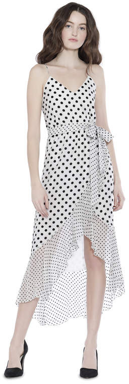 Alice + Olivia Mable Midlength Ruffle Mock Wrap Dress