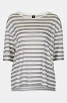 Topshop Boutique Stripe Linen Tee Grey 6
