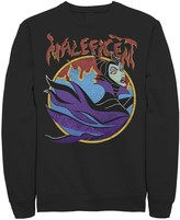 Disney Men's Sleeping Beauty Maleficent Vintage Flame Portrait Sweatshirt
