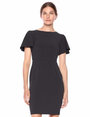 Lark & Ro Amazon Brand Women's Fluid Crepe Flutter Short Sleeve Boat Neck Sheath Dress