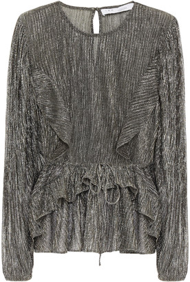 IRO Gavdos Ruffled Metallic Plisse-jersey Peplum Blouse