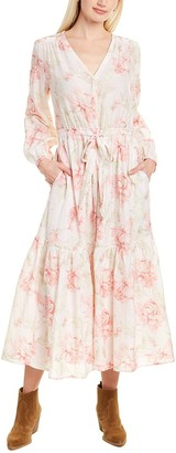 Rebecca Taylor Peonies Silk-Blend Midi Dress