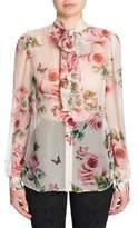 Dolce & Gabbana Antique Rose Print Chiffon Blouse