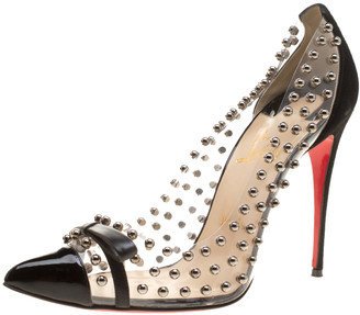 Christian Louboutin Black Studded PVC and Suede Bille Et Boule Bow Pointed Toe Pumps Size 40.5