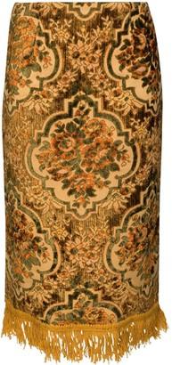 Marine Serre Floral-Jacquard Fringed Skirt
