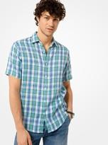 Michael Kors Slim-Fit Plaid Linen Short-Sleeve Shirt