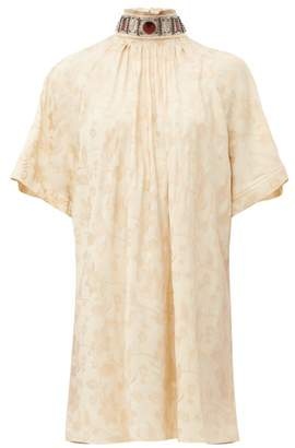 Chloé Embellished Tie Back Floral Jacquard Dress - Womens - Beige Multi