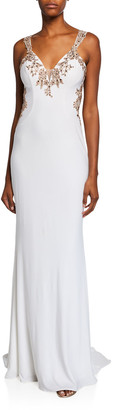 Faviana V-Neck Sleeveless Embellished Applique Jersey Gown w/ Cutout Back