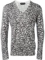 Alexander McQueen leopard intarsia jumper - men - Silk/Wool - S
