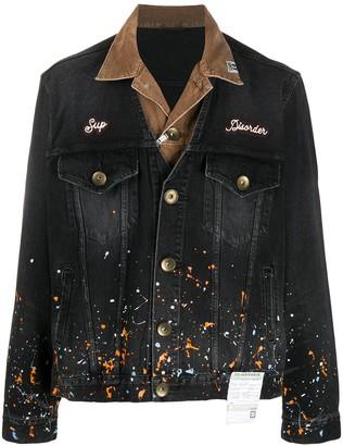 Maison Mihara Yasuhiro Paint-Splatter Layered Denim Jacket