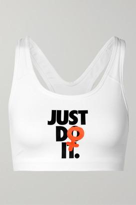 Nike Rebel Swoosh Printed Dri-fit Sports Bra