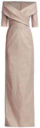 Teri Jon by Rickie Freeman Glitter Off-The-Shoulder Column Gown