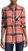 Arizona Long-Sleeve Boyfriend Plaid Shirt-Juniors