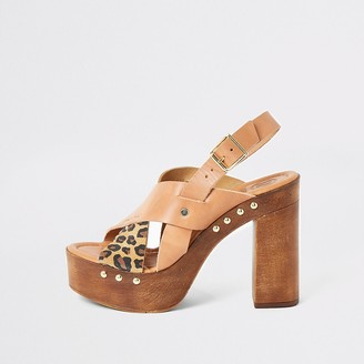 River Island Brown leather cross over platform sandals