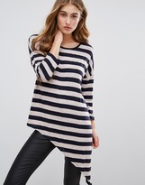 Only Asymmetrical Fine Gauge Stripe Knit Sweater
