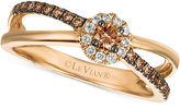 LeVian Le Vian Chocolatier Diamond Crisscross Ring (1/3 ct. t.w.) in 14k Rose Gold