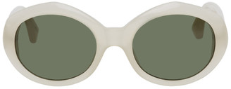 Dries Van Noten White Linda Farrow Edition Round Sunglasses