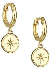 Astley Clarke Women's 14K Yellow Goldplated & White Sapphire Star Charm Huggie Earrings