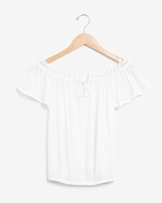 Express Eyelet Lace Off The Shoulder Top