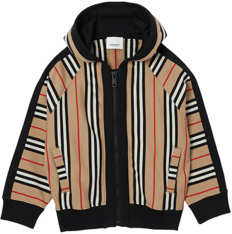Burberry Girl's Aurelie Icon Stripe Hooded Jacket, Size 3-14