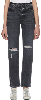 SLVRLAKE SSENSE Exclusive Black Destroyed London High Rise Straight Leg Jeans