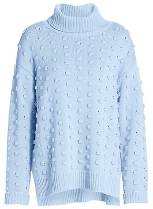 Lela Rose Dotted Cashmere & Wool Turtleneck Sweater