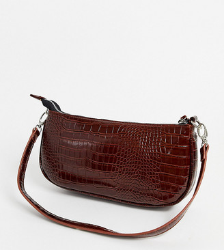 My Accessories London 90s shoulder bag in brown patent croc effect