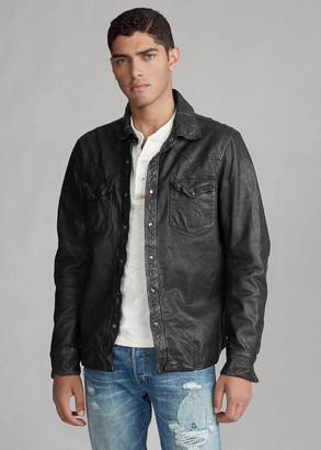 Ralph Lauren Washed Leather Western Shirt Jacket