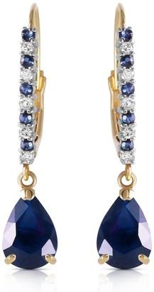 Overstock 3.35 Carat 14K Solid Gold Naturalpa Sapphire Diamond Earrings