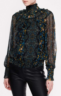 Ramy Brook Women's Floral Printed Janie Long Sleeve High Neck Top