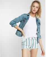 Express mid rise striped denim cotton cutoff shorts