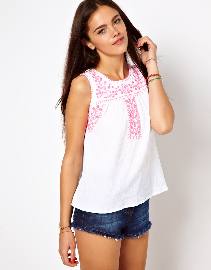 River Island Cami With Embroidered Yoke