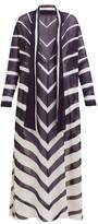 Odyssee - Rivage Chevron-printed Chiffon Maxi Dress - Womens - Navy