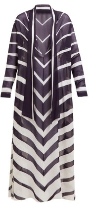 ODYSSEE Rivage Chevron-printed Chiffon Maxi Dress - Navy