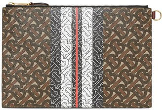 Burberry Monogram Stripe E-canvas Zip Pouch