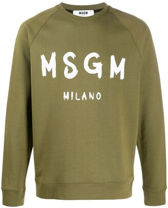 MSGM Brush Logo-Print Cotton Sweatshirt