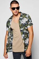 boohoo Floral Print Short Sleeve Shirt khaki