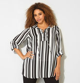 Avenue Striped Lace-Up Tunic Blouse