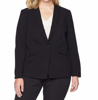 Tahari by Arthur S. Levine Women's Plus Size Bi-Stretch One Button Jacket with Pinstripe Lining