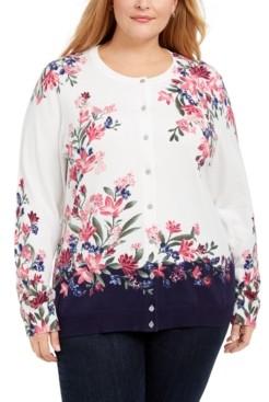 Karen Scott Plus Size Floral Print Cardigan, Created for Macy's