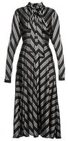 COLLECTION (RUNWAY) Long Sleeve Stripe Satin Dress