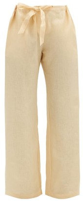 Rossell England - Drawstring-waist Linen Pyjama Trousers - Light Yellow