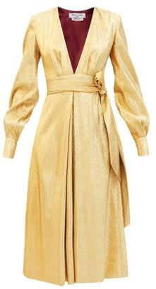 Francoise - Waist-tie Lame Midi Dress - Gold