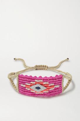 Diane Kordas Evil Eye Woven Cord, Diamond And Sapphire Bracelet - Pink